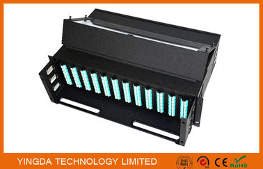 Cina 288 Fibers 19 Inch Slide Out Patch Panel , 3U MPO Enclosures Chassis 12 Cassettes pabrik