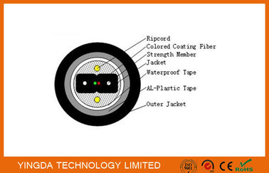 Cina Armored Bow Type Fiber Drop Cable FTTH Black PE Jacket Outdoor Duct Cable pabrik