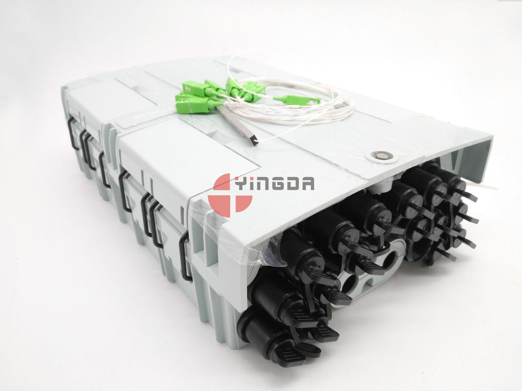 96 Core 16 Port Fiber Optic Splitter Box NAP Luar Box Mini SC Adapter IP68 PC Dengan 1x16 Splitter pemasok